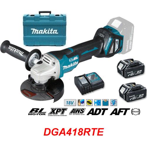 Máy mài góc dùng pin Makita DGA418RTE (100mm/công tắc bóp/AWS/BL) (18V)